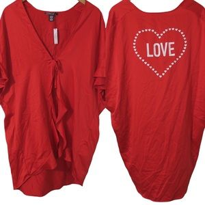 NWT Victoria's Secret Red Love Silky Robe One Size